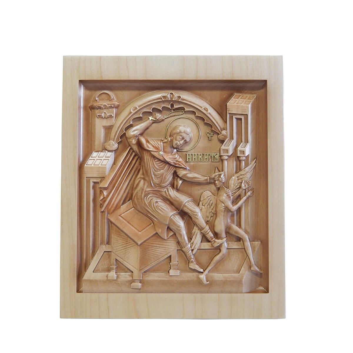 Икона из дерева Никита побивающий беса
