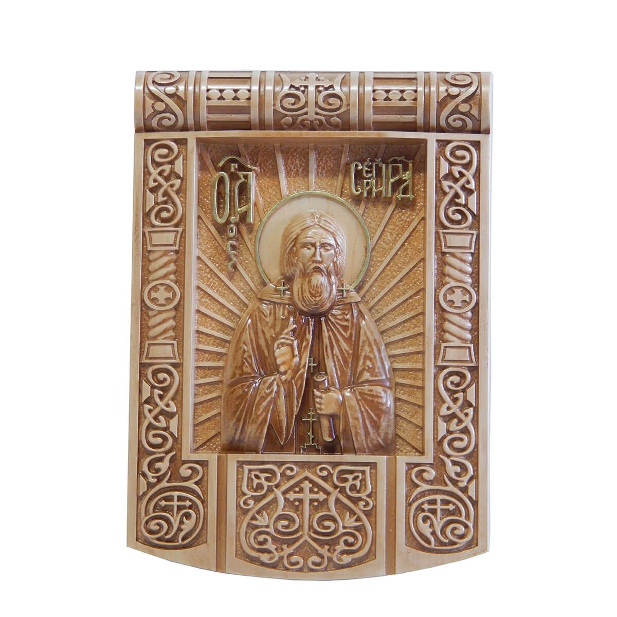 Резная икона из дерева Сергий Радонежский