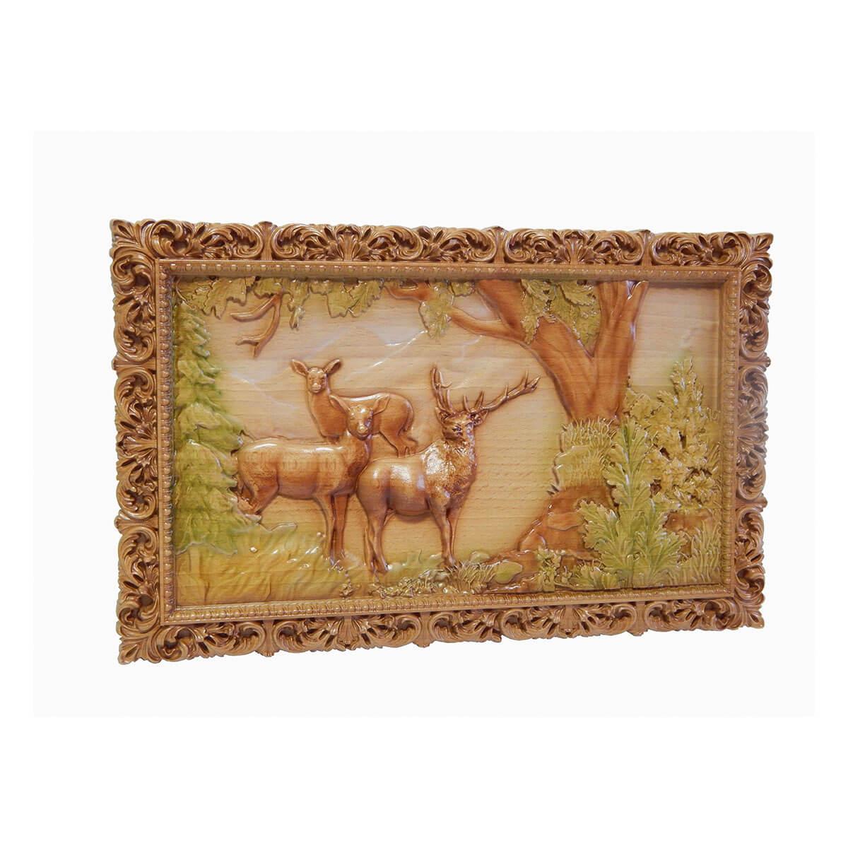 """Резная картина из дерева """"Олень и 2 важенки"""""""